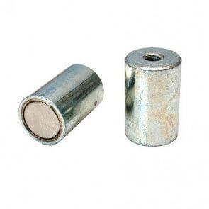 Neodym stangmagneter i stålkappe / indvendigt gevind