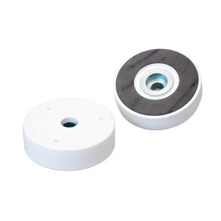 Pottemagnet - ferrit -hvidt kunststof - cylinderboring