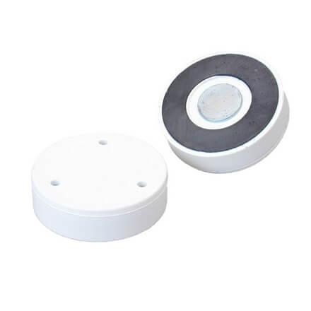 Pottemagnet - ferrit - hvidt kunststof - simpel fladmagnet